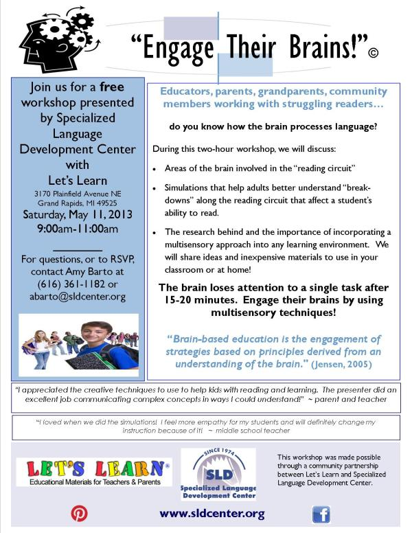 Engage Their Brains flyer lets learn
