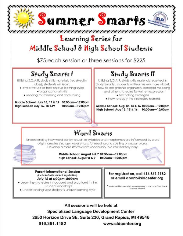 Summer Smarts: SLD Center Learning Series for Middle School & High School Students
