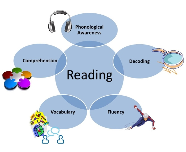 components of reading visual with icons